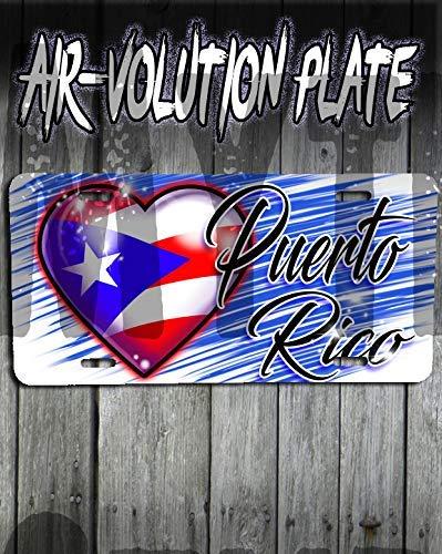 onalisierte Airbrushed Puerto Rico Flaggen-Herz-Kfz-Kennzeichen-Tag ()