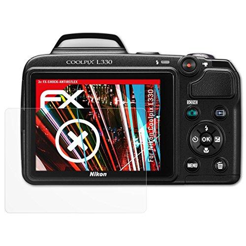 folie für Nikon Coolpix L330 Panzerfolie - 3 x FX-Shock-Antireflex blendfreie stoßabsorbierende Displayschutzfolie (Nikon Coolpix L330-kamera)