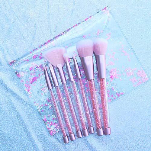 ZUEN 7 Makeup Brush Set Crystal Handle Diamond Plus Bag Pink Portable Blush Repair Capacity Loose Powder Girl Heart,A