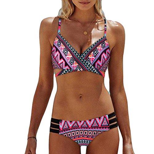 OVERDOSE Frauen Böhmen Push-Up Bikini Sets Gepolsterte BH Beach Damen Badeanzug Bademode Swimsuit Swimwear(Pink,XL - Rüschen Neckholder Bh