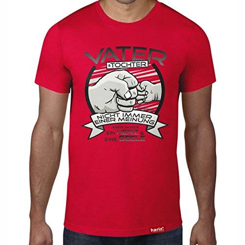 HARIZ Vater & Tochter - Ein Herz und eine Seele//Original T-Shirt - 16 Farben, XS-4XXL//Männer | Geschenk | Geburtstag | Vatertag | Weihnachten #PAPA Collection Red 3XL (Seele Red-t-shirt Herz)