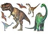 Unbekannt 6 tlg. Set: Wandtattoo / Sticker -  Dinosaurier Dinos  - Wandsticker - Aufkleber für Kinderzimmer - Wandaufkleber + Fenstersticker Tyrannosaurus / Jungen Dino Saurier T-Rex Kinder