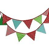 Banderines de tela de 3,3 m con 12 banderines triangulares de doble cara vintage, guirnaldas de tela, decoración para dormitorio, fiestas de cumpleaños o decoración de boda