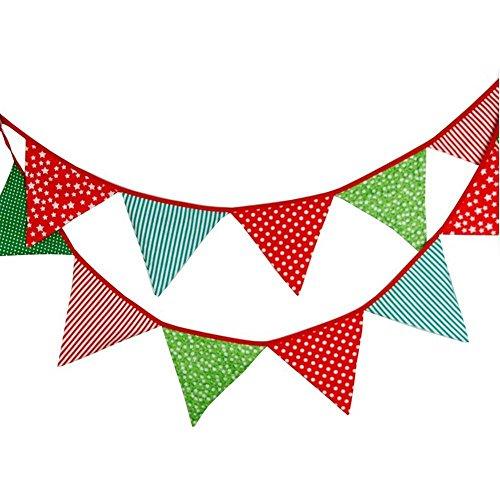 G2PLUS Schöne Wimpelkette 3.3M Wimpel Girlande mit 12 Wimpeln in Dreiecksform für Kindergeburtstagsfeier; Weihnachtsfest -
