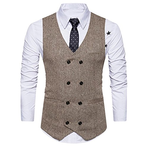 KEERADS Herren Weste V-Ausschnit Vintage Kurzweste Slim fit Sweatweste Anzugweste Basic Mode Businessweste Anzug (S(Etikettengröße L), Beige) (Drei-knopf-blazer Klassische)