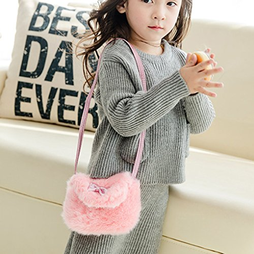 Kinder Geldbörse Plüsch Schlüsselbeutel Mädchen Handytasche Crossbody Bag Umhängetasche Kartenmäppchen perfektes Geschenk Pink