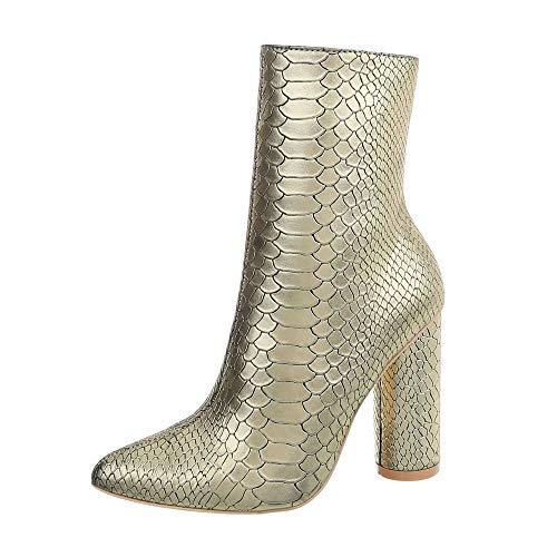 Ital-Design Damenschuhe Stiefeletten High Heel Stiefeletten Synthetik Gold Gr. - Gold Kostüm Stiefel