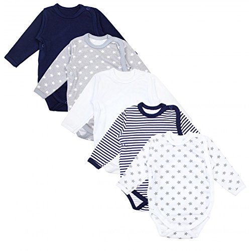 TupTam Baby Unisex Langarm Wickelbody Print/Uni 5er Pack, Farbe: Mehrfarbig, Größe: 56 -