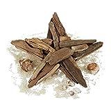 Relaxdays Dekostern Holz, Holzstern Natur, zum Aufhängen oder Hinstellen, aus Treibholz, Handarbeit, 40 cm groß, braun