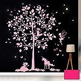 ilka parey wandtattoo-welt Wandtattoo Wandbild Wandaufkleber Wandsticker Aufkleber Sticker Baum mit Feen Einhorn und floureszierende Sterne M2016 - ausgewählte Farbe: *pink* ausgewählte Größe: *XXL - 163cm breit x 180cm hoch*