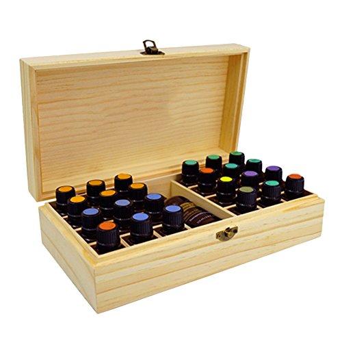 Essential Holz Öl Box Tragbarer Massivholz ätherisches Öl Aufbewahrungsbox 25Slots Massivholz Fall Halter Aromatherapie Flaschen 5ml/10ml/15ml Lagerung Organizer 27,5*...