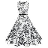 VEMOW Heißer Verkauf Elegante Damen Frauen Vintage Druck Bodycon Sleeveless Halter Casual Täglichen Brautjungfern Tanzabend Party Prom Swing Kleid Faltenrock (Weiß 6, EU-36/CN-M)