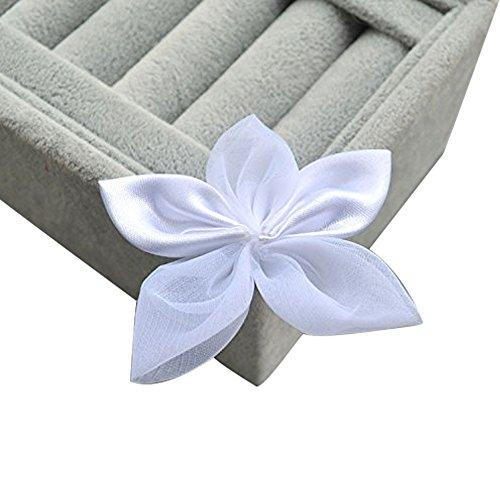 50 pezzi fiocco fiore cinque petali nastro raso organza accessori decorazioni creazioni fai da te (bianco)