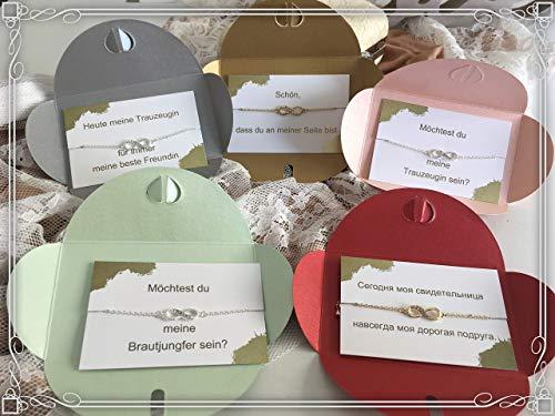 Strass Unendlichkeit Infinity Trauzeugin Brautjungfer Geschenk fragen Hochzeit Brautschmuck Armband Ondego Gold Silber Rot Mintgrün Blau Rosa