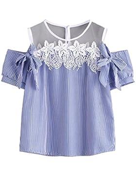 beautyjourney Maglia Maglietta Donna Manica Corte Pizzo estive Ragazza t Shirt Donna Divertenti Vintage Tumblr...