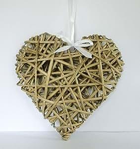 30Cm Osier Naturel Willow Suspendu Coeur De Mariage Guirlande Shabby Chic Rustique