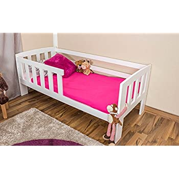 Toddler bed A17, solid pine wood, white finish, with slats, mattress ...