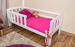 kinderbett mit absturzsicherung kiefer vollholz massiv wei lackiert a17 inkl lattenrost. Black Bedroom Furniture Sets. Home Design Ideas