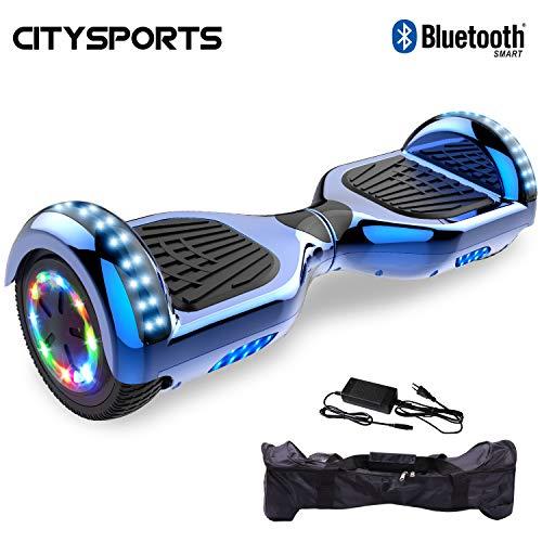 CITYSPORTS Hoverboard,6,5 Zoll Selbstabgleich elektrischer Scotter, LED-Lichträder, Bluetooth, 700W Motor