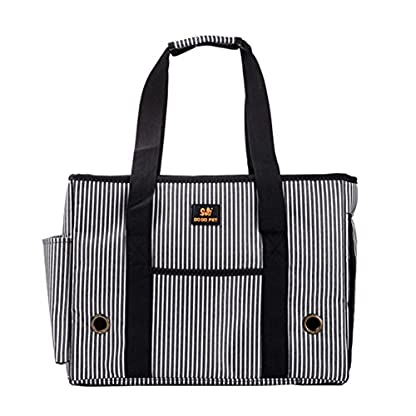 GossipBoy Stripe Pet Airline Approved Outdoor Travel Carrier Portable Dog Cat Handbag Oxford Kitten Puppy Tote Bag with… 4