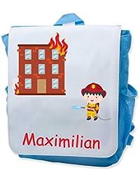 Preisvergleich für Kindergartenrucksack Kinder Rucksack bedruckt mit Namen und Motiv Feuerwehr pink blau rot hellblau