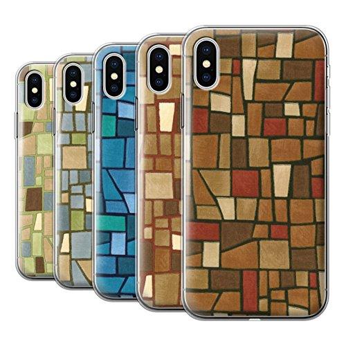 Stuff4 Gel TPU Hülle / Case für Apple iPhone X/10 / Blau/Türkis Muster / Mosaik Fliese Kollektion Multipack (9 Pcs)