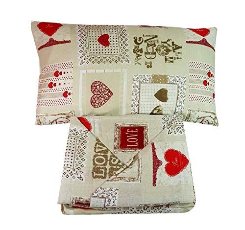 Menita shop completo letto lenzuola in flanella matrimoniale singolo fantasie shabby offerta (vintage beige cuori rossi (a), matrimoniale)