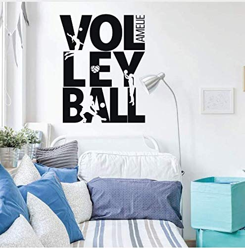 Liushop Summer Beach Volleyball Wall Decal Custom Name Sports Girls Room Decor Volleyball Sign Playing Silhouette Vinyl Wall Mural33*42Cm Volleyball Silhouette
