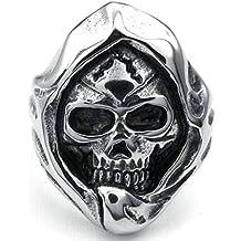 Aooaz Uomo Anelli Reaper Testa Del Cranio Acciaio Inossidabile Anelli Per Gli Uomini Argento Nero (Verde Diamante Solitario Anello)