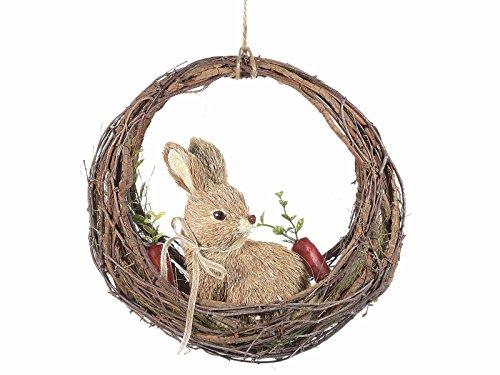 Ghirlanda pasquale in legno con coniglio e carota