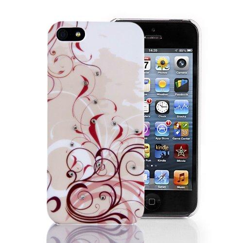 JAMMYLIZARD   WEIß / SILBER / GRAU G10 niedliche Blumenmuster Diamante Ganzkörper Hülle/Tasche/Hardcase für Apple iPhone 5 inkl. Displayschutzfolie Floral ROSA