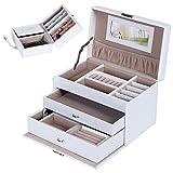 Songmics Schmuckkästchen abschließbar mit spiegel Schublade und Mini-Box (Weiß) JBC126W
