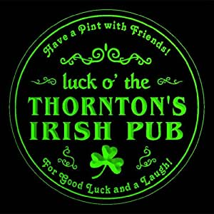 4x ccqv1354-g THORNTON'S Irish Pub St. Patrick's Shamrock Beer Bar Etched Engraved 3D Coasters