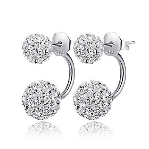 Fletion Boucles d'oreilles en cristal à double boule en cristal élégante aux femmes filles féminines Boucles d'oreilles en diamant strass pour mariage nuptiale