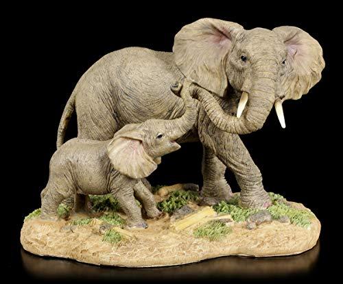 Figura Elefantes Familia - Madre con Niño Figura Decorativa, Pintado a Mano