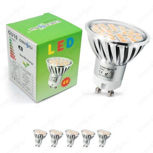 Preisvergleich Produktbild Energmix 5x GU10 LED Lampe 4W 400 lm - Warmwei LED Spot - Strahler - Leuchtmittel mit 5050 SMD LED 230 Volt 4 Watt (mit Schutzglas),  2064x5
