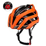 Erwachsenen Radfahren Fahrradhelm mit Sicherheitslicht Einstellbare Ultraleicht Stabile Straße / Mountainbike Zyklus Helme für Damen und Herren Einstellbare 56 cm - 61 cm (Orange)