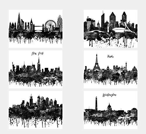 Wall Decor Kunstdrucke Skyline of Cities and Countries London Montreal New York Paris Vancouver Washington, Aquarell, A4, 21 x 29 cm, 6 Stück