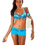 AHOOME Damen Bademode Bikini-Sets Push-up Gepolstert Drucken Mit Shorts(Blue,L)