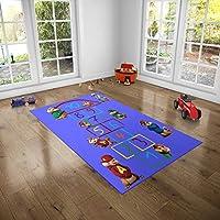 Çocuk Odası Oyun Halısı, Kaymaz Tabanlı Halı ve Kilimler, Alvin Sincap Mavi Seksek Desenli Kız Erkek Çocuk Odası Halısı, Bebek Odası Halısı (80x150)