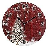 QMIN Wanduhr, Weihnachtsbaum, Kaffeebohnen, Schneeflocken, runde Uhr, geräuschlos, kein Ticken, leise Uhr für Schlafzimmer, Wohnzimmer, Küche, Büro, Home Decor