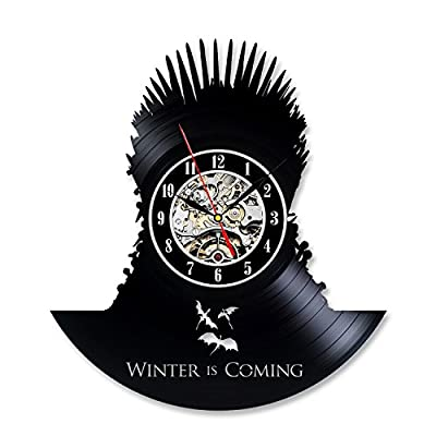 Game of Thrones Design Black Vinyl Record Bedroom Wall Clock