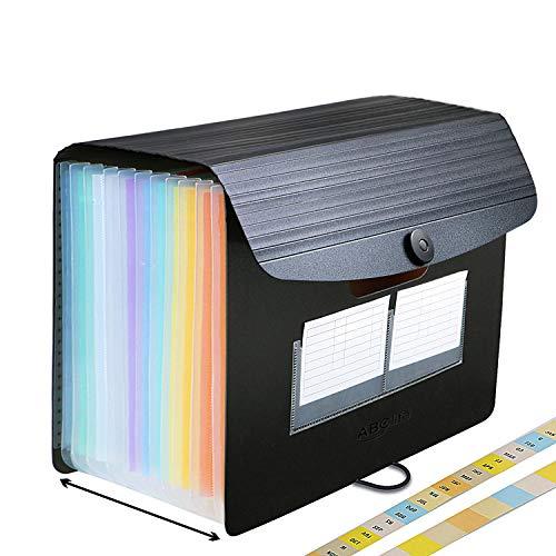 Trieur A4 / Range Document / Rangement Papier - ABClife Trieur Valisette Rangement documents Classeur a4 Organiseur Documents Trieur Extensible Accordéon Document (Trieur 12 compartiments)