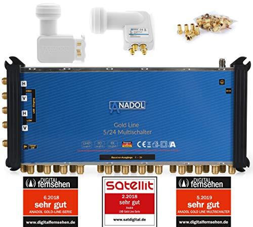 LNB + MULTISCHALTER Set: Anadol Gold Line 5/24 digitaler Multischalter [ Test SEHR GUT ] für 1 Satellit und 24 Ausgänge/Receiver + Anadol Quattro LNB [Test 2X SEHR GUT] 37 vergoldete F-Stecker gratis
