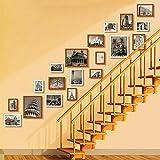 JLRQY Bilderrahmen Wand Set Treppen Collage Aus Holz Bilderrahmen Hängen Dekorative Gemälde Für Artwork Familie Flur Gang, Sets Von 19,B