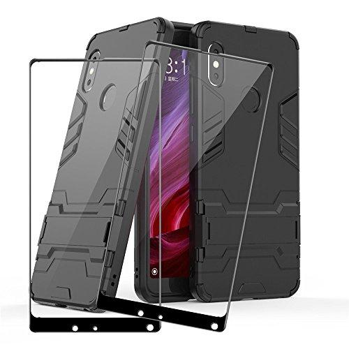 Xiaomi Mi Mix 2s Protector de Pantalla y Funda, LAGUI Cobertura Completa Cristal Templado Película, y Ultrafino Carcasa TPU / PC Con Soporte Plegable, 1 Funda Negro y 2 Protector de Vidrio Negro.