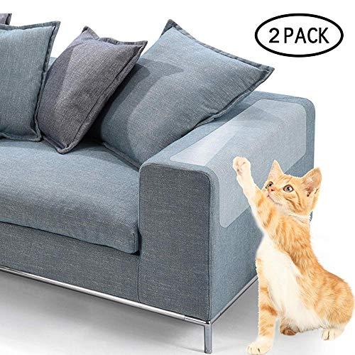 FOONEE Cat Scratch Furniture, Clear Premium Plastic Couch Guard de Cat Scratching Protector Clawing Furniture Repelente Set de Mesa Sofa Slipover Pads (47cm X 15cm)