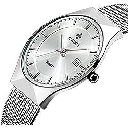 Herren 's Ultra Dünn Business Kalender Quarz Armbanduhr Herren Fashion Edelstahl Mesh Band Uhr Silber