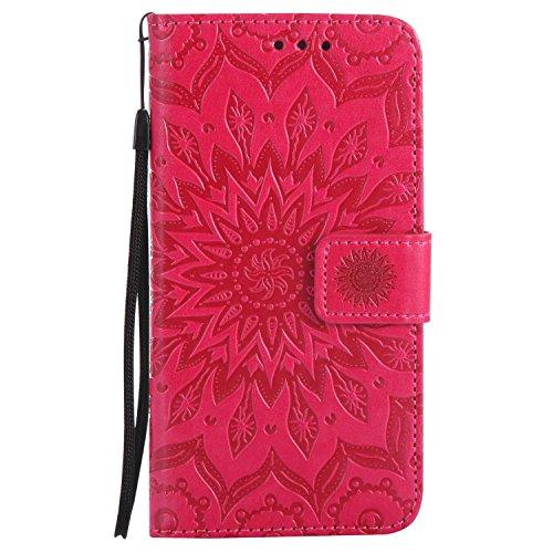 DENDICO Funda Galaxy Grand Prime, Libro Estilo de PU Cuero Carcasa Impresión Flip Protectora Funda para Samsung Galaxy Grand Prime - Rojo