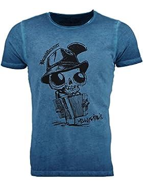 Hangowear Herren Trachten-T-Shirt Madalo Blau/Türkis